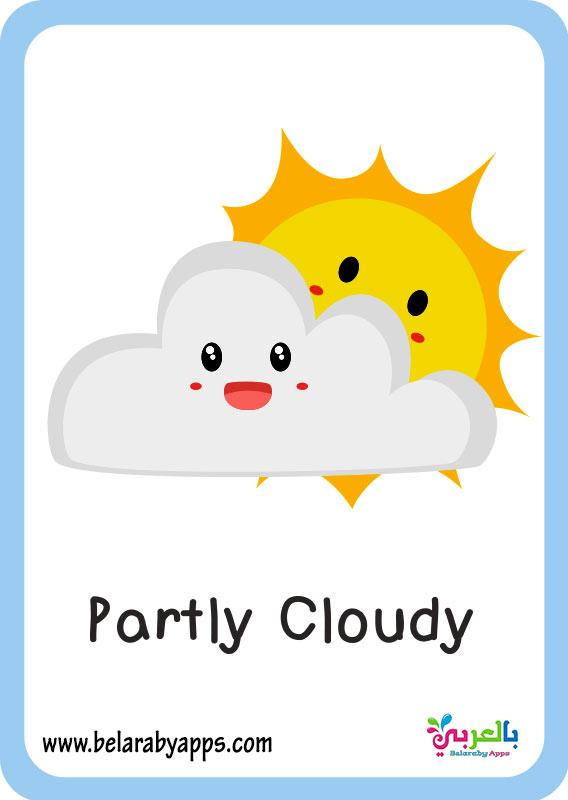 بطاقات تعليم حالة الطقس بالانجليزي pdf