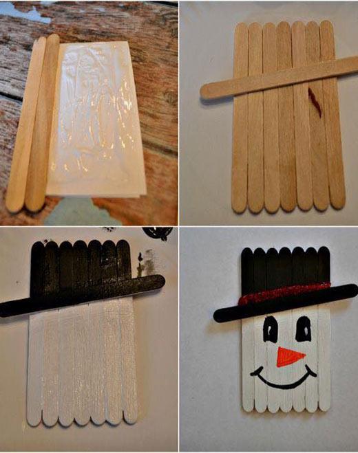فكرة عمل رجل الثلج بسيطة - انشطة الروضة صنع رجل الثلج من عيدان الايس كريم