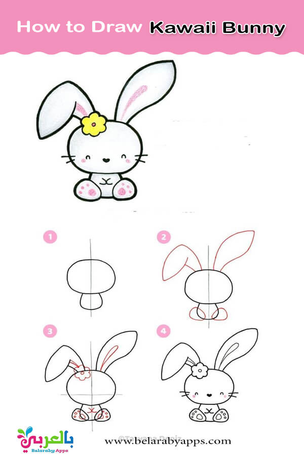 كيفية رسم ارنب كرتون بالخطوات