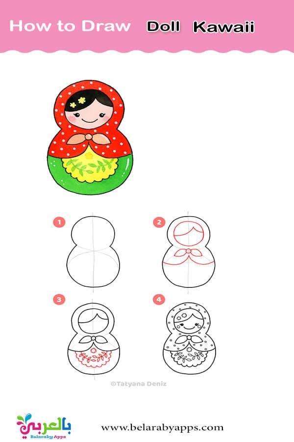 رسم عروسة بالخطوات - رسم بنات بالرصاص