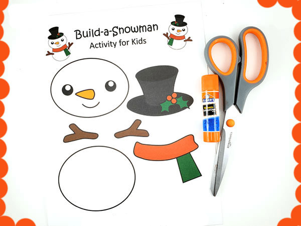 Printable Snowman free template craft for kids