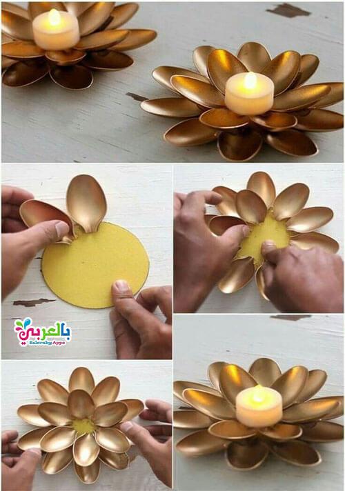 بالخطوات أعمال فنية من الملاعق البلاستيكية