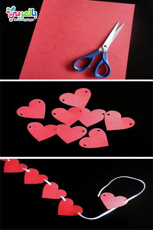 صنع قلوب معلقة بالخطواط
