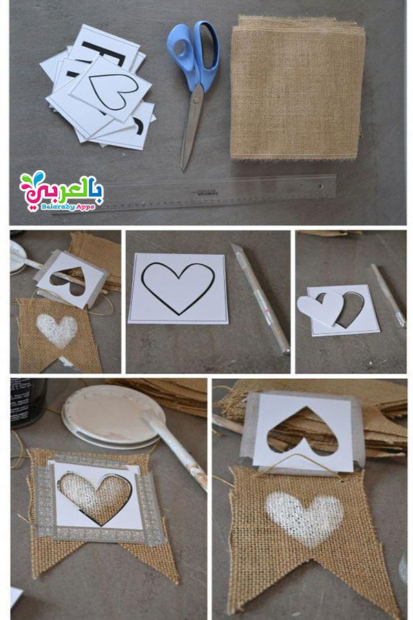 عمل ديكور جميل شكل قلوب بخامات بسيطة - اشغال يدوية