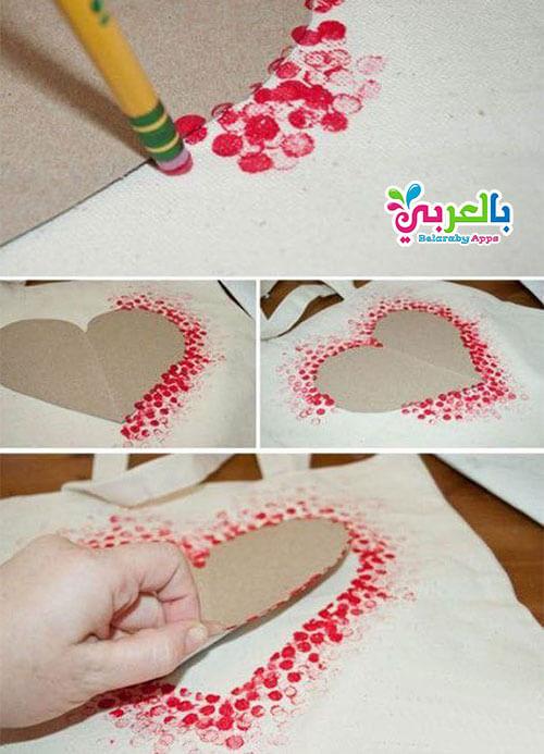 الطباعة على القماش شكل قلب - عمل ديكور جميل شكل قلوب بسيطة