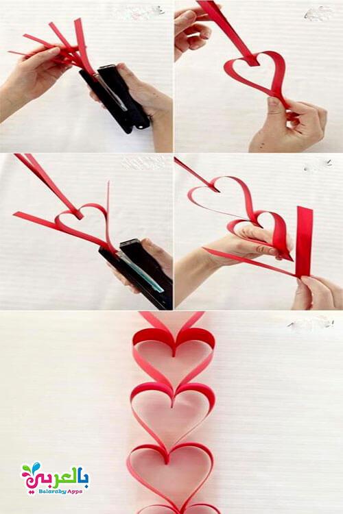 طريقة عمل قلوب بالورق الملون