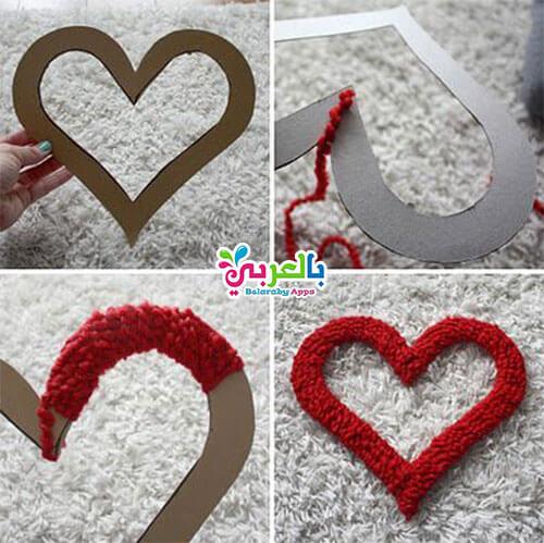 عمل قلب مجسم بالورق