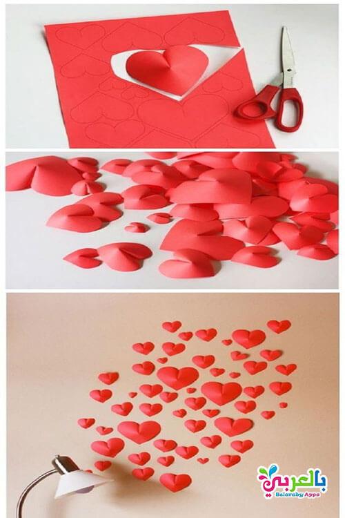 صنع قلوب من الورق للزينة والديكور