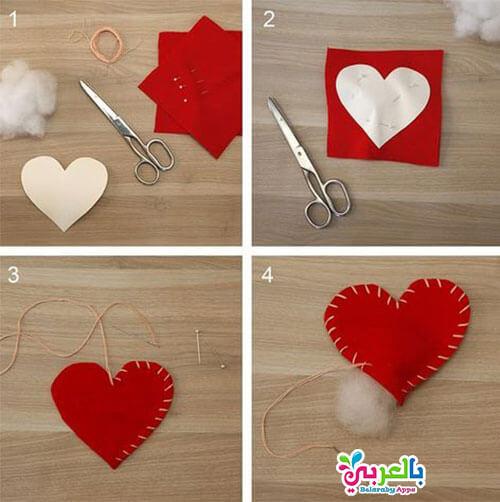 عمل قلب مجسم من الجوخ - عمل ديكور جميل شكل قلوب بسيطة