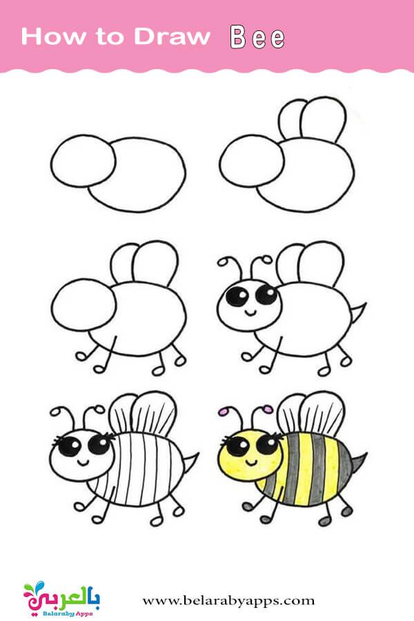 تعليم الاطفال رسم نحلة كرتون بالخطوات
