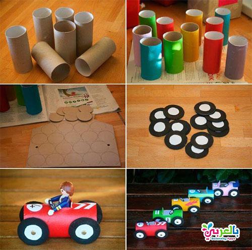 العاب يمكن صنعها لطفلك بالورق المقوى - صنع سيارات