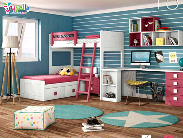غرف نوم اطفال بنات سرير دورين