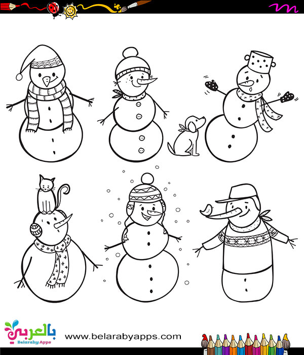 Snowman family coloring