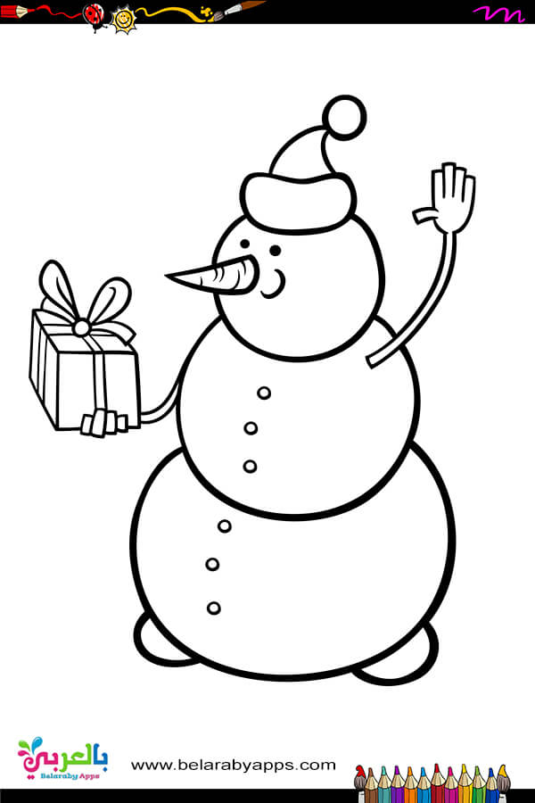 Happy Snowman Coloring Pages Free