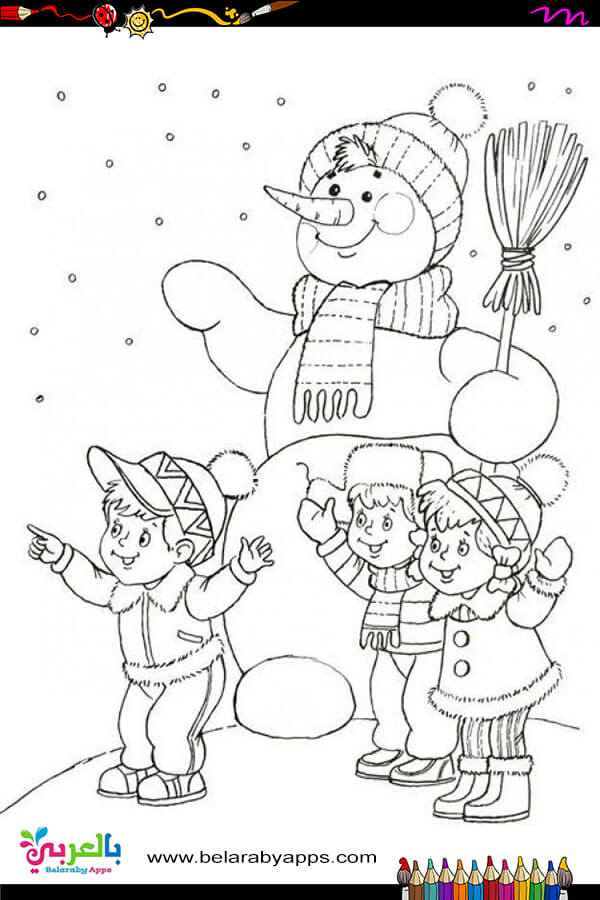 Happy winter coloring sheets
