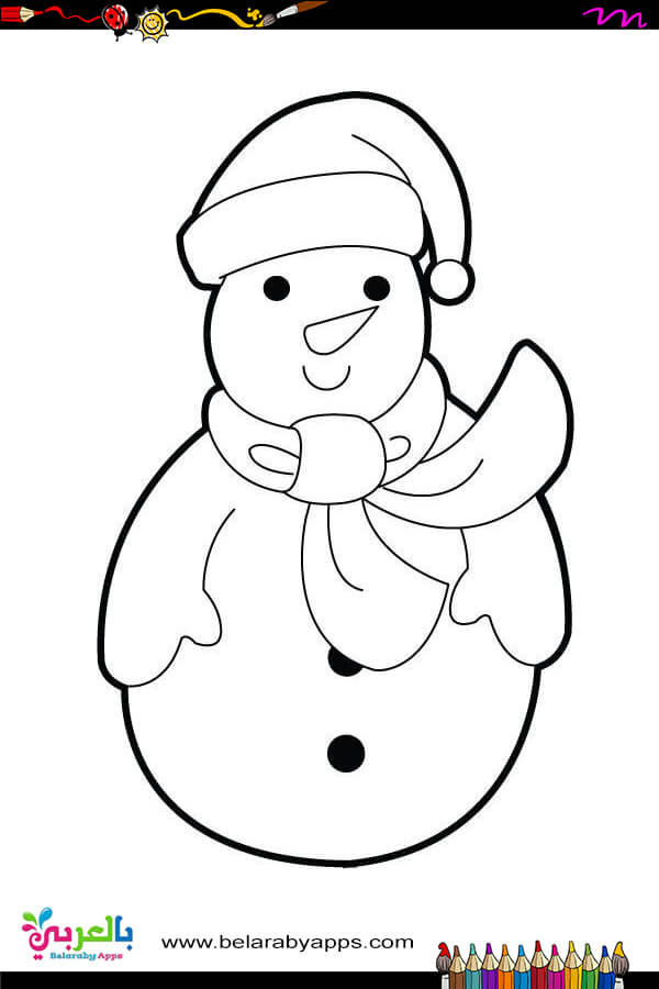 Simple snowman coloring pages for to