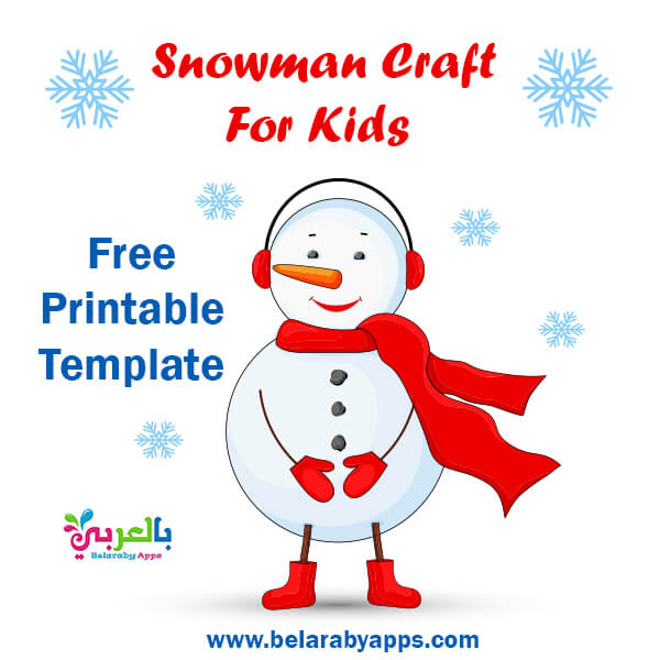 Free Printable snowman paper craft template pdf