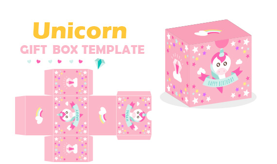 free unicorn gift box template