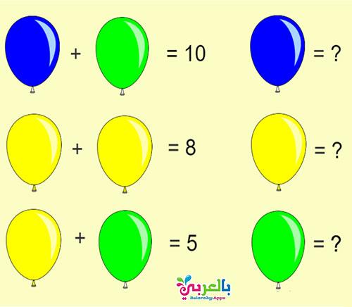 فوازير رياضيات سهلة مع الحل للاطفال