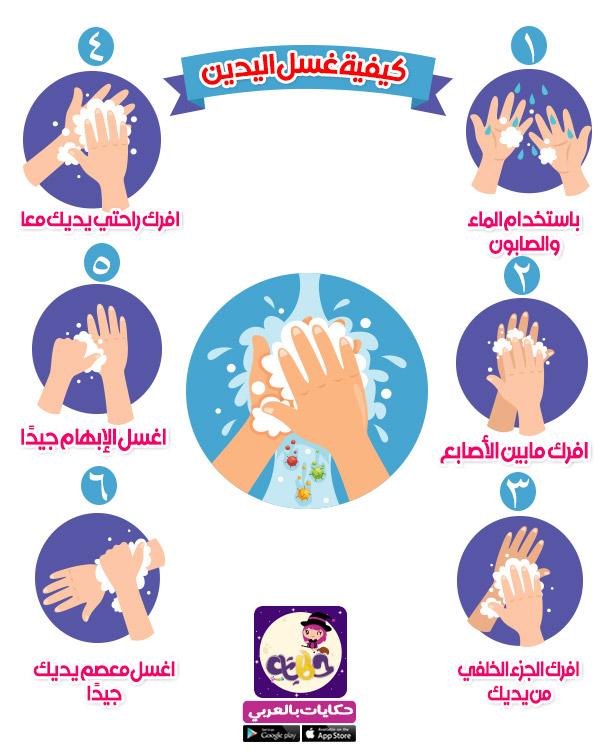 خطوات غسل اليدين للاطفال بالصور