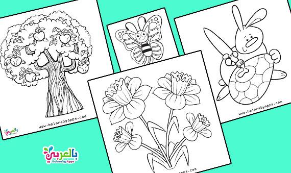 اجمل رسومات تلوين فصل الربيع للاطفال