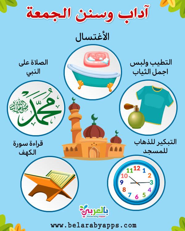 آداب وسنن الجمعة للأطفال - انفوجرافيك