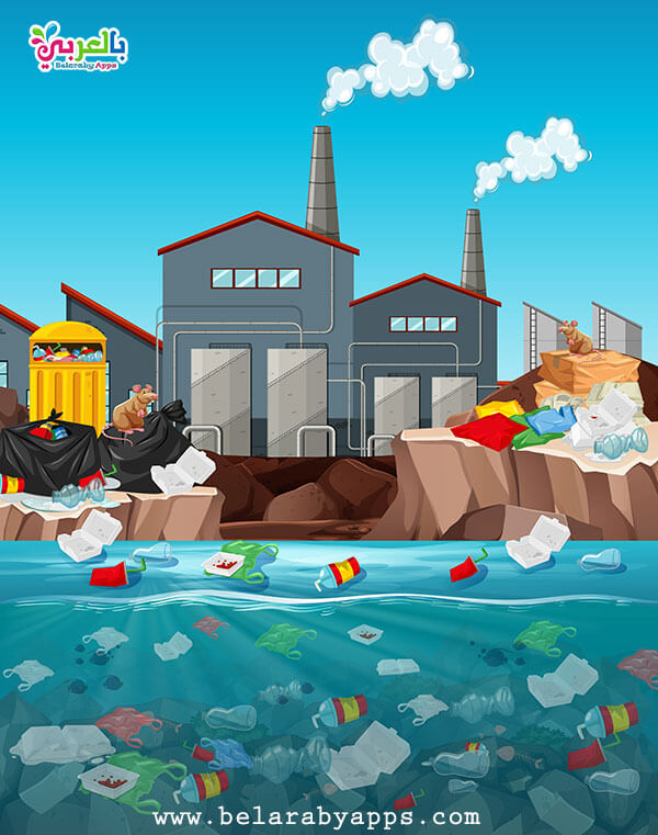 رسومات عن تلوث المياه - رسم عن الماء سر الحياة