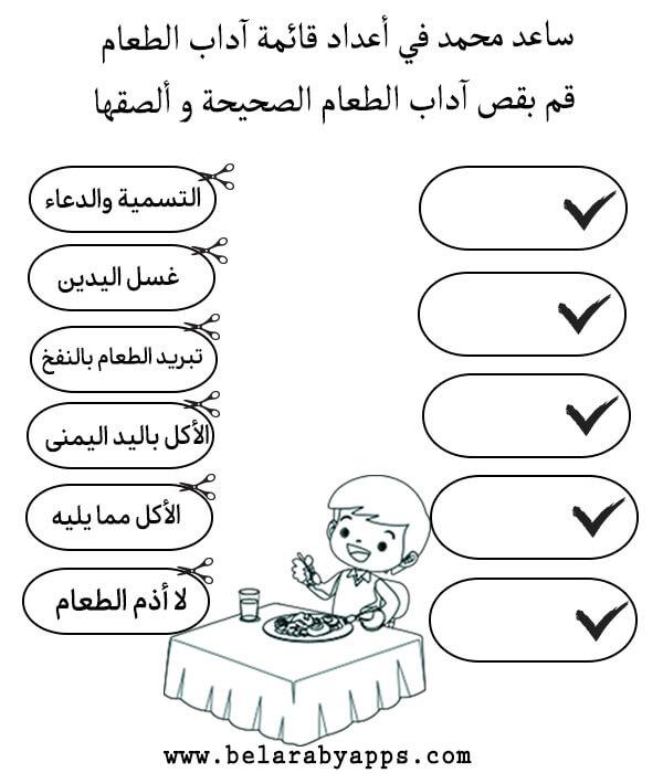 نشاط عن آداب الطعام للأطفال