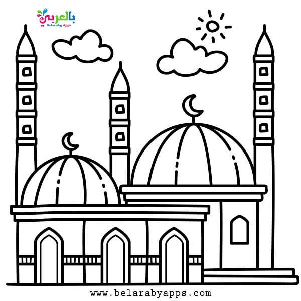 Ramadan Mubarak coloring pages,Free design mosque coloring book