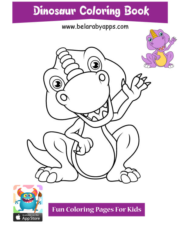 Free Cute Dinosaur Coloring Pages Belarabyapps