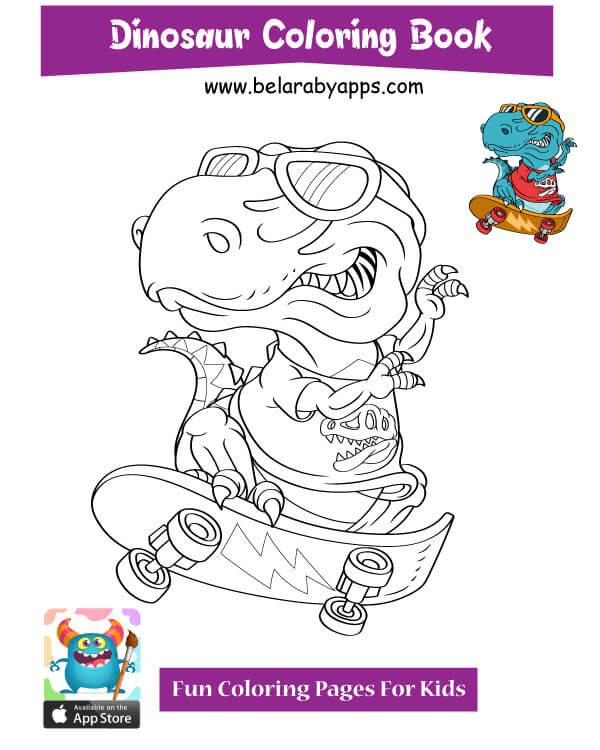 Vector illustration. Coloring page outline of cartoon dinosaur ... | 750x600