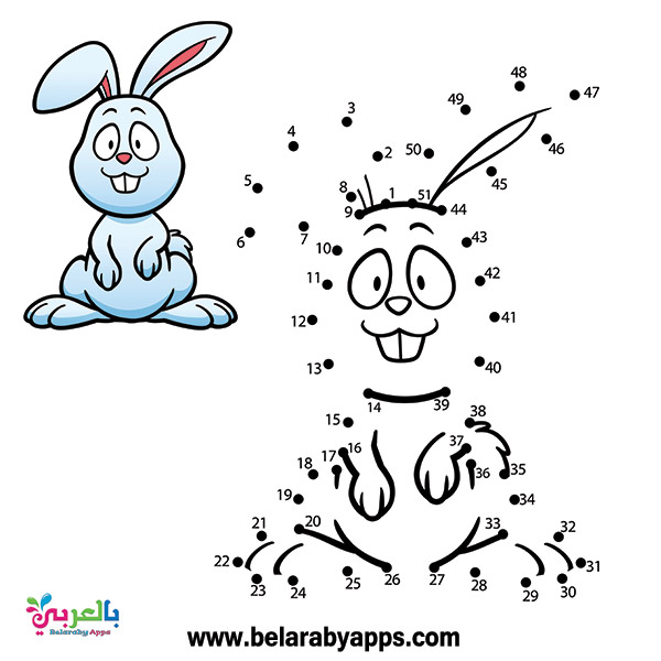 لعبة توصيل النقاط للاطفال . رسم ارنب