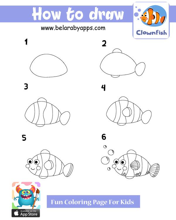 تعليم الرسم للاطفال .. رسمسمكة
