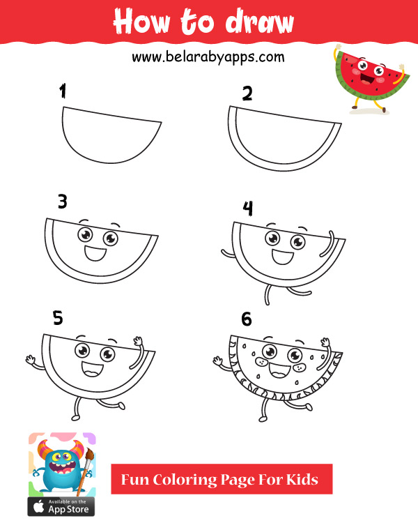تعلم رسمبطيخ - easy things to draw step by step