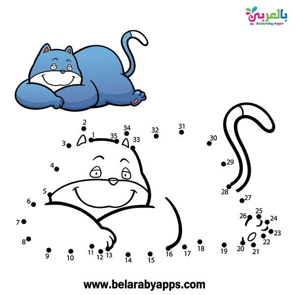 أوراق تعليمية للاطفال رسومات توصيل النقاط- connect the dots to draw animals