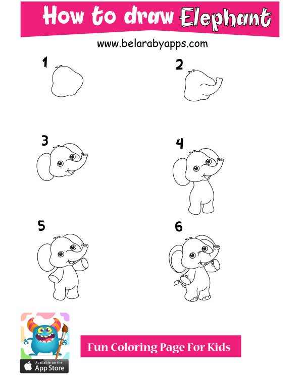 how to draw cute animals elephant
