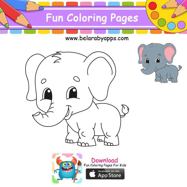 رسم أطفال سهل وجميل - رسم فيل