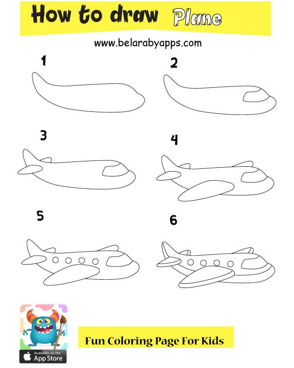 بالصور والخطوات رسم طائرة للاطفال