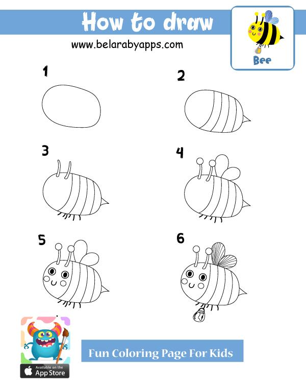 تعليم رسمنحلة بالخطوات - تعليم رسم اطفال للحيوانات خطوة بخطوة