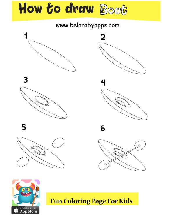 تعلم رسم قارب بالخطوات للأطفال - Boat