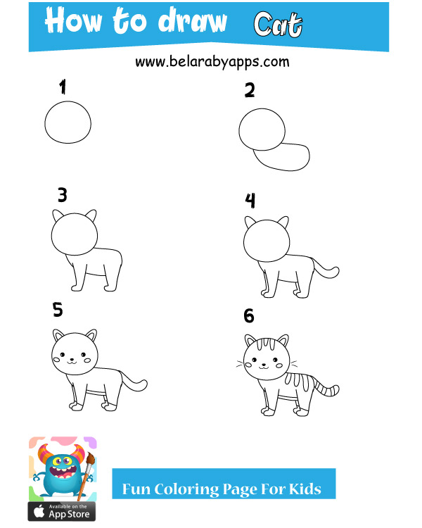 how to draw animals step by step - cat