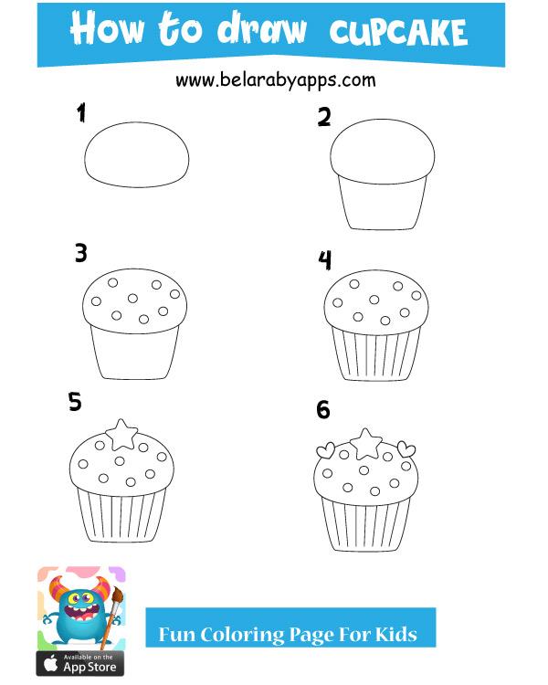 ورقة عمل كيفية رسم كاب كيك - تعليم الرسم للاطفال خطوة بخطوة pdf بالخطواط