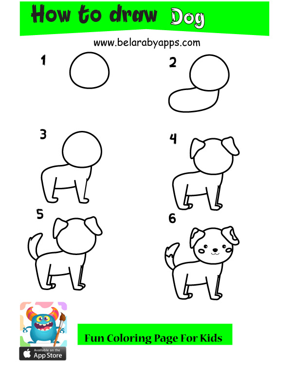 how to draw animals step by step - dog drawing
