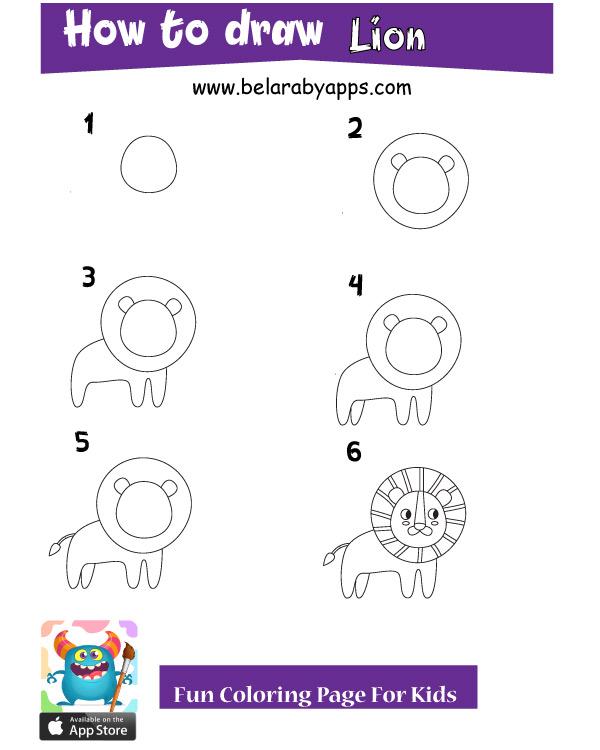 تعليم رسم اطفال للحيوانات خطوة بخطوة - أسد
