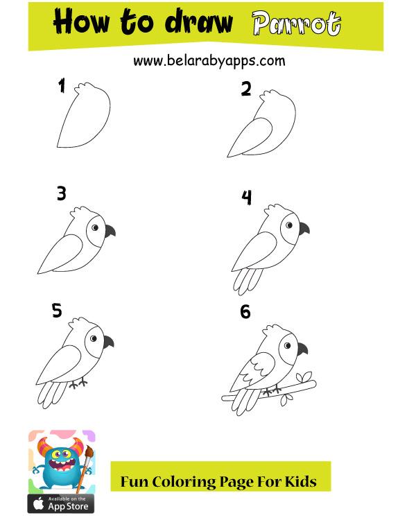 رسم أطفال سهل وجميل - تعليم رسم بغبغاء