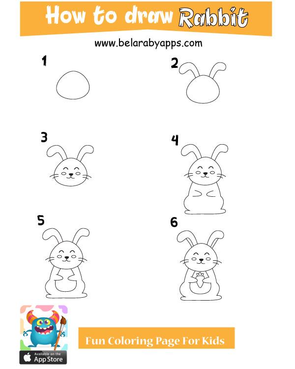 تعليم رسم أرنب بالخطوات