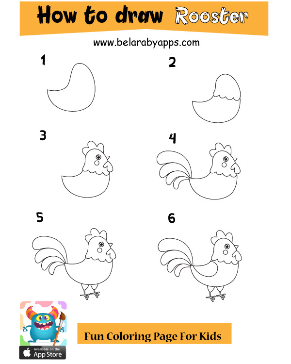 how to draw cute animals - rooster
