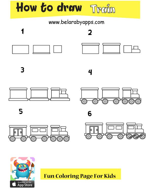 خطوات سهلة لتعلم رسم القطار - تعلم رسم وسائل النقل والمواصلات