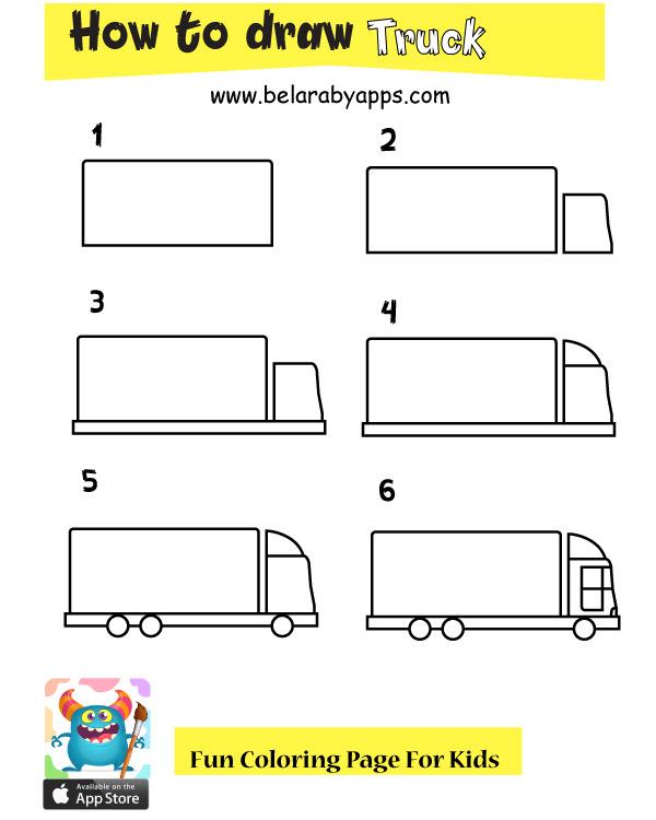 صور كيفية رسم شاحنة بالخطوات