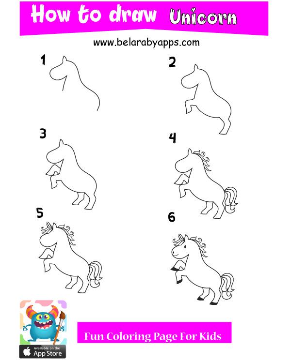 تعليم رسميونيكورن - تعليم رسم اطفال للحيوانات خطوة بخطوة